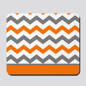 Orange Gray Chevron Stripe Mousepad